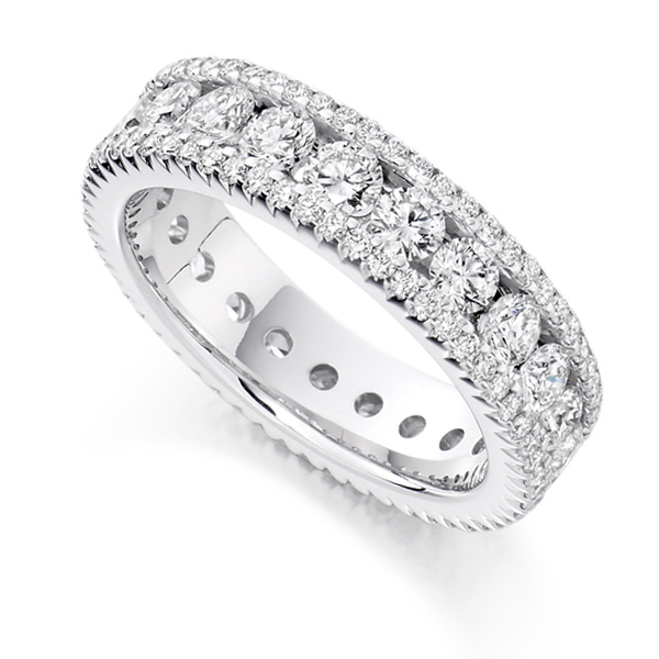 2.80 Carat Diamond Encrusted Full Diamond Eternity Ring