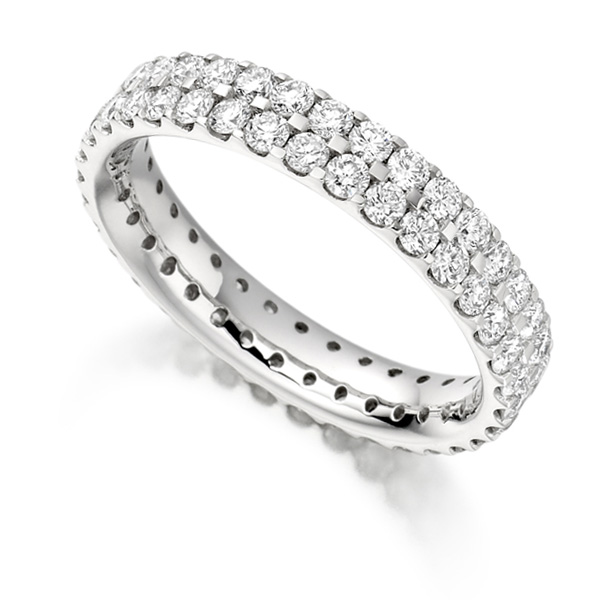 1.50ct 2 Row Pavé Set Full Diamond Eternity ring
