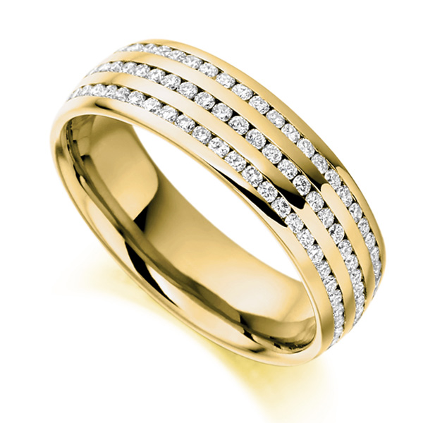 1 Carat 3 Row Channel Set Full Eternity ring In Yellow Gold