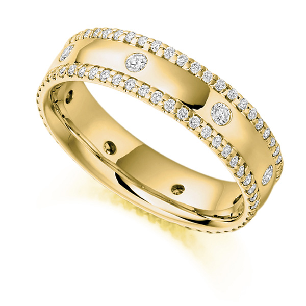 0.80ct Micro Pavé Flush Set Full Diamond Band In Yellow Gold