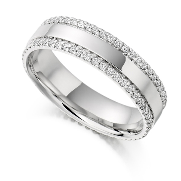 0.55cts Double Pavé Edge Full Diamond Eternity Ring