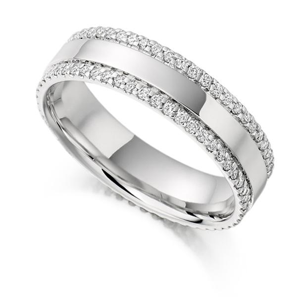 0.55cts Double Pavé Edge Full Diamond Eternity Ring