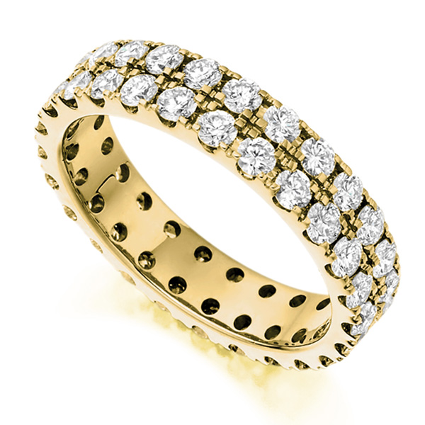 2 Carat 2 Row Pavé Diamond Full Eternity Ring In Yellow Gold