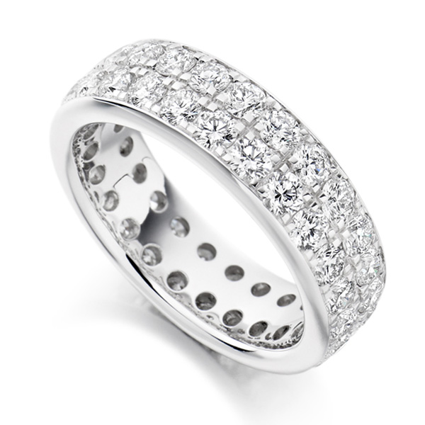 3.10ct 2 Row Pavé Set Full Diamond Eternity Ring