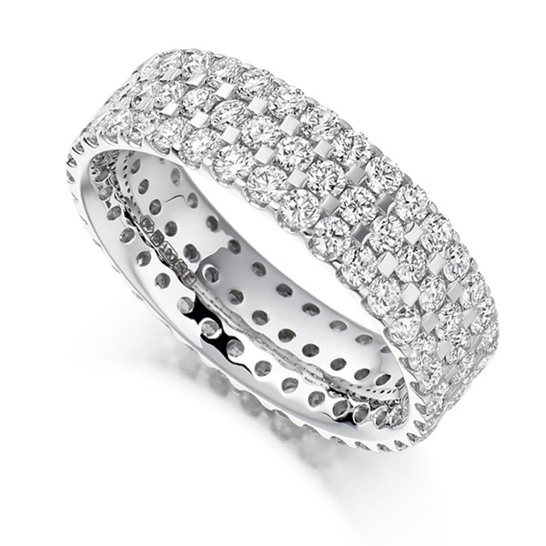 2.5ct 3 Row Pavé Set Full Diamond Eternity Ring