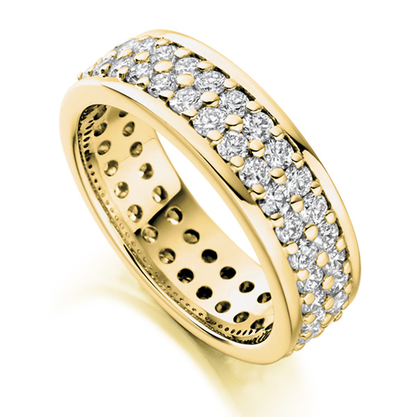 2 Carat Wide 6mm Double Row Full Eternity Ring Yellow Gold