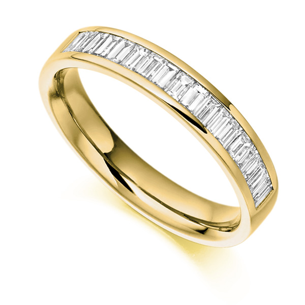 0.56cts Cross Set Baguette Half Diamond Eternity Ring In Yellow Gold