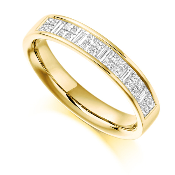 0.60cts Baguette & Princess Cut Half Eternity Ring In Yellow Gold