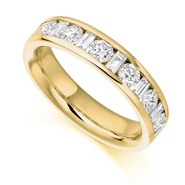 1 Carat Half Eternity Round & Baguette Diamonds In Yellow Gold
