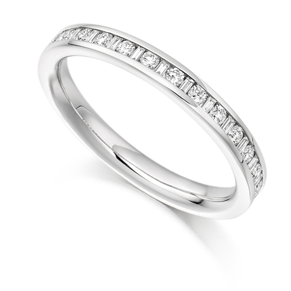 0.30cts Baguette & Round Diamond Half Eternity Ring