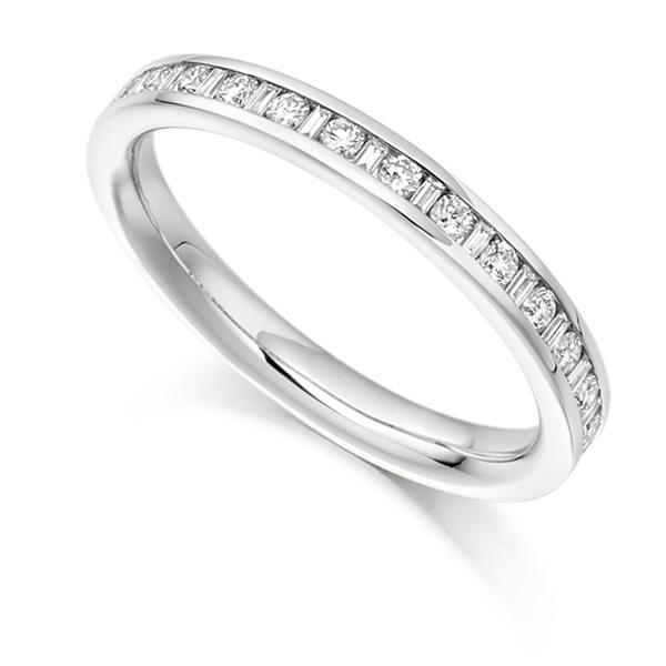 0.30cts Baguette & Round Diamond Half Eternity Ring