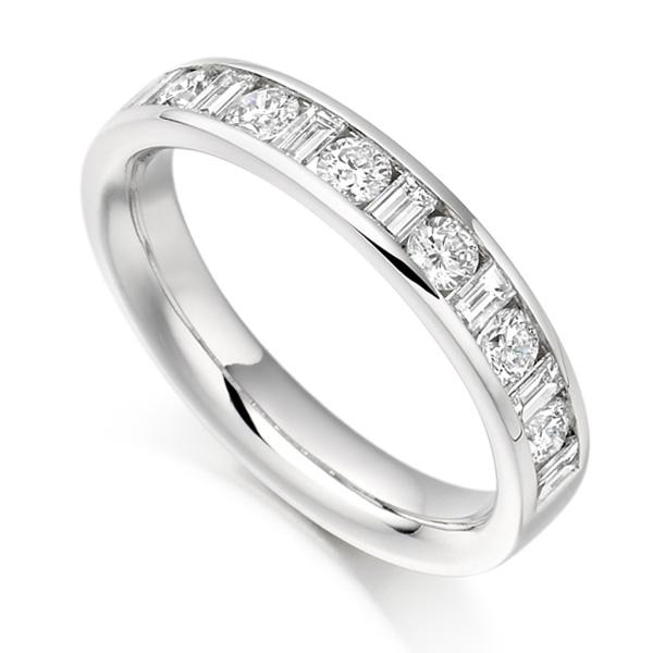 0.76ct Baguette & Round Diamond Half Eternity Ring