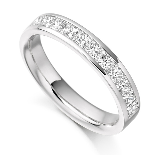 0.75ct Princess Cut Diamond Half Eternity Ring