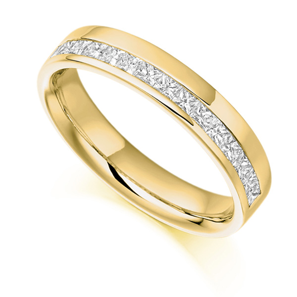0.50cts Princess Half Eternity Ring with Offset Channel In Yellow Gold