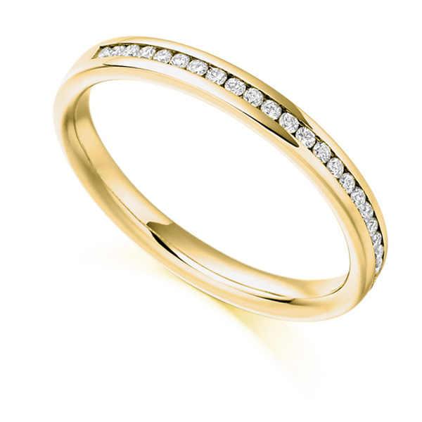 0.15ct Round Diamond Half Eternity Ring In Yellow Gold