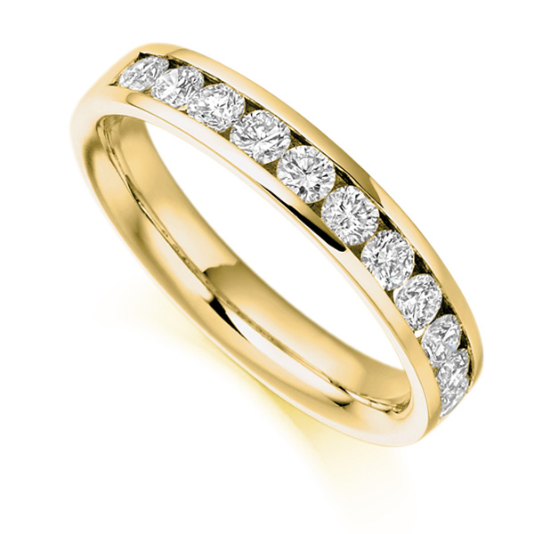 0.80cts Round Brilliant Diamond Half Eternity Ring In Yellow Gold