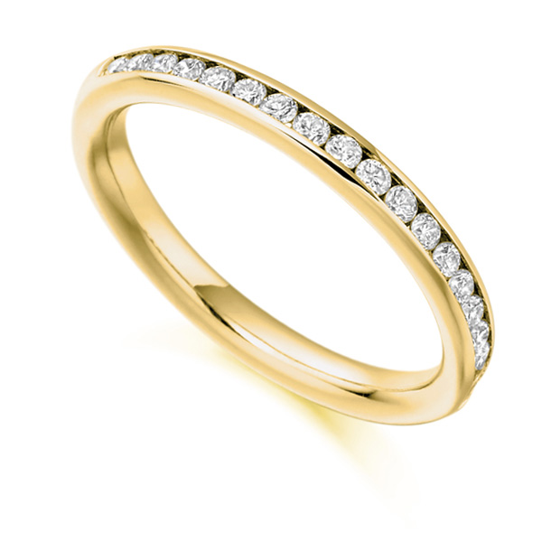 0.33cts Channel Set Round Diamond Half Eternity Ring In Yellow Gold