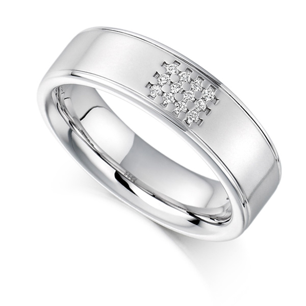 0.08ct Unisex 5.85mm Wide Diamond Set Ring