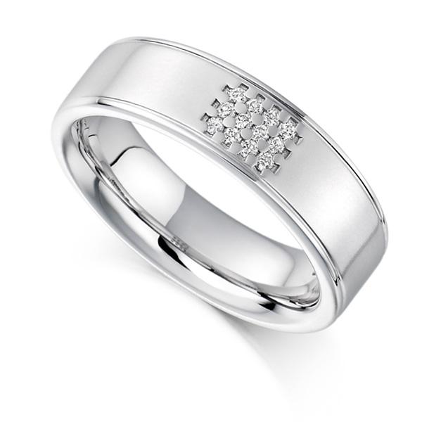 0.08ct Unisex 5.85mm Wide Diamond Set Ring