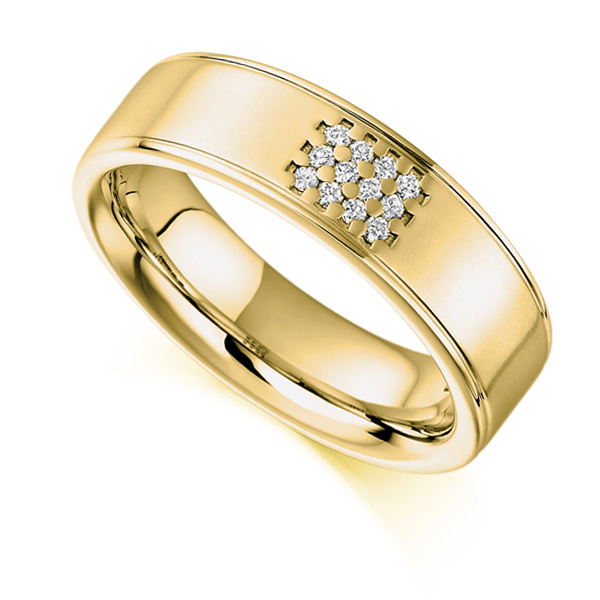 0.08ct Unisex 5.85mm Wide Diamond Set Ring In Yellow Gold