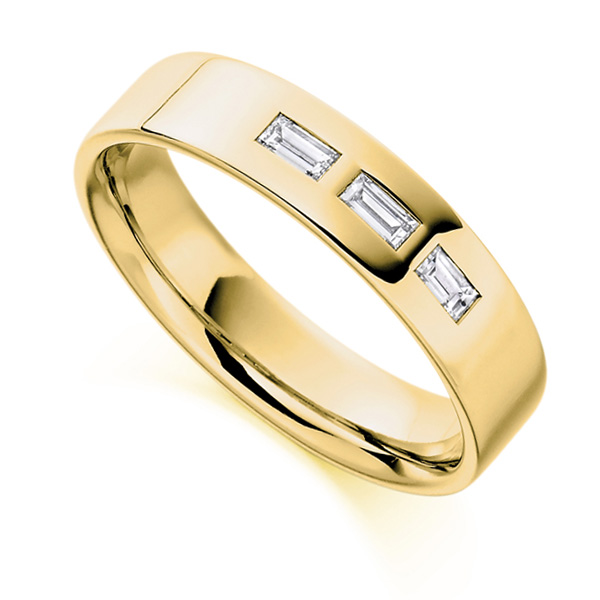 0.20cts Men's Baguette 3 Stone Diamond Wedding Ring In Yellow Gold