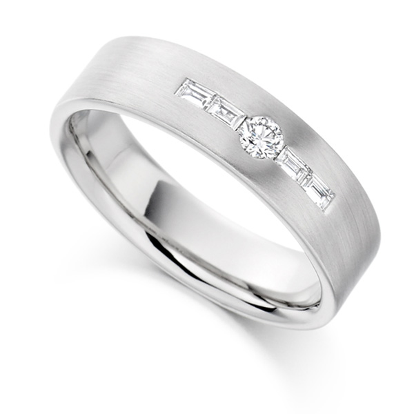 0.18cts Round & Baguette Diamond Men's Wedding Ring