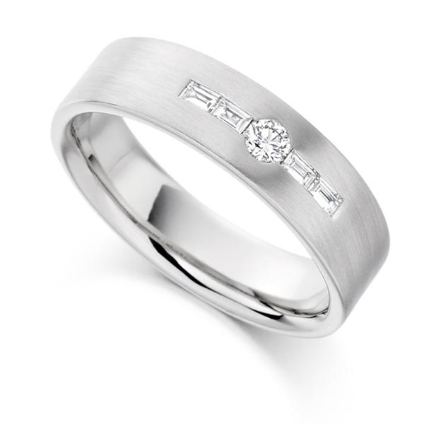 0.18cts Round & Baguette Diamond Men's Wedding Ring