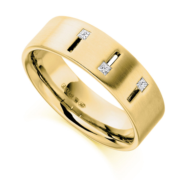 0.10cts Men's Princess Diamond Wedding Ring In Yellow Gold