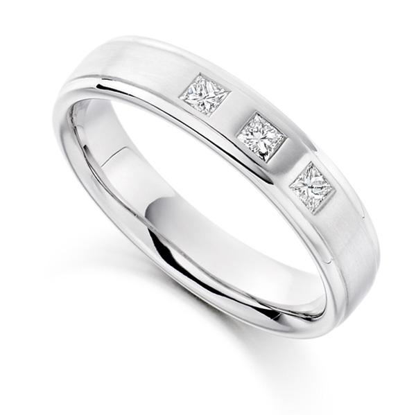 0.22cts Men's 3 Stone Princess Diamond Wedding Ring