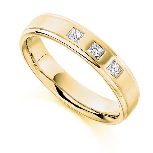 0.22cts Men's 3 Stone Princess Diamond Wedding Ring In Yellow Gold