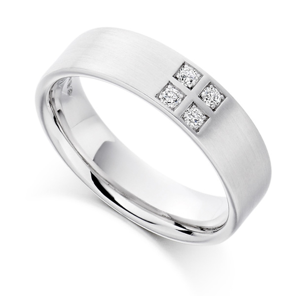0.12cts Men's 4 Stone Diamond Set Wedding Ring
