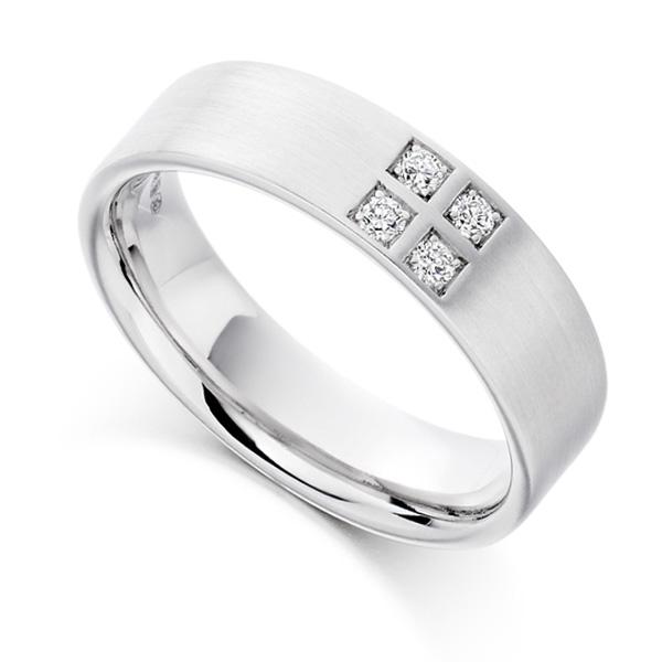 0.12cts Men's 4 Stone Diamond Set Wedding Ring