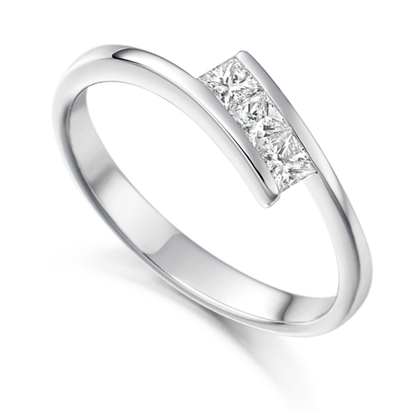 3 Stone Trilogy Diamond Engagement Ring