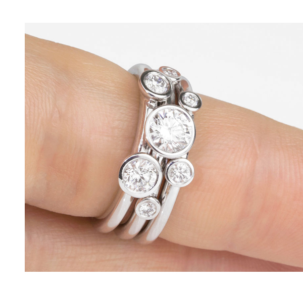 1 Carat Stacking Diamond Rings Set Shown On Finger