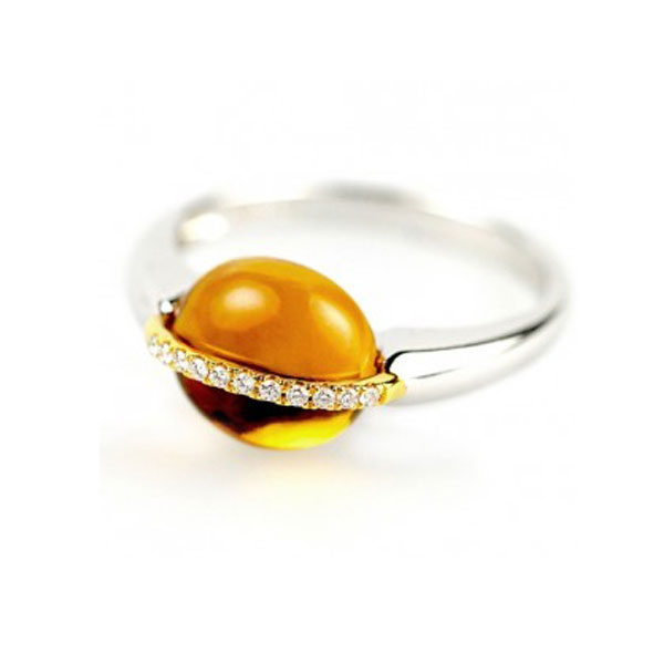 3 Carat Cabochon Citrine and Diamond Ring Side View