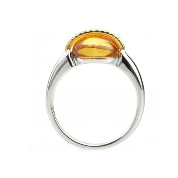 3 Carat Cabochon Citrine and Diamond Ring Front View