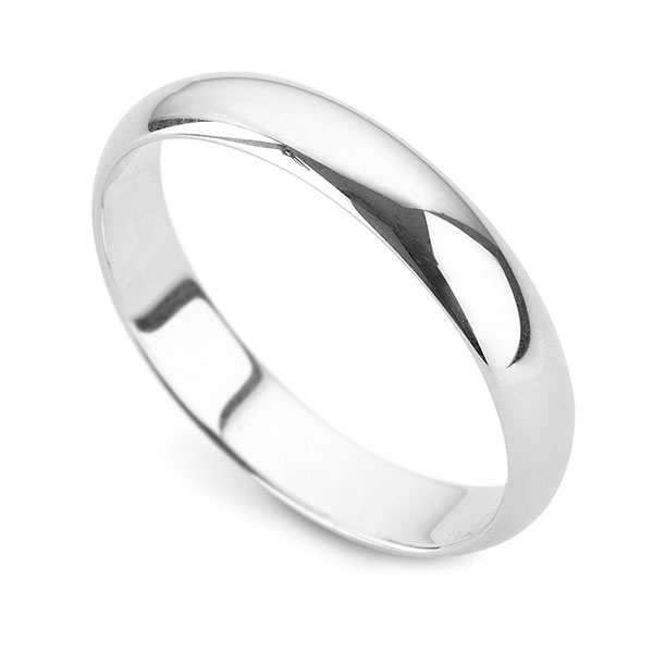 Plain D Shaped Palladium Wedding Ring