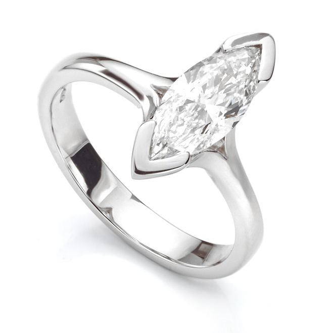 1 Carat Marquise Engagement Ring with Split Shoulders