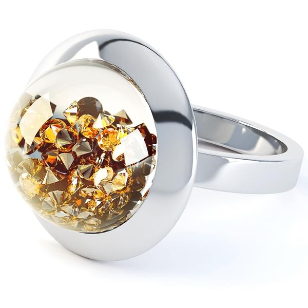 Citrine Gemstone Dome Suspension Ring