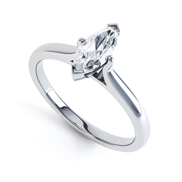 0.20cts Palladium Marquise Diamond Solitaire Ring