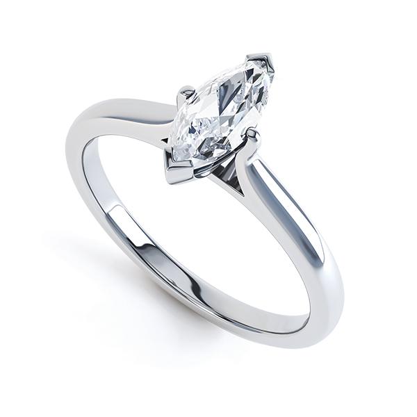 0.20cts Palladium Marquise Diamond Solitaire Ring