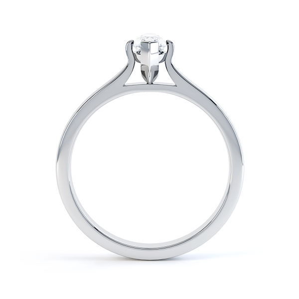 0.20cts Palladium Marquise Diamond Solitaire Ring Side View