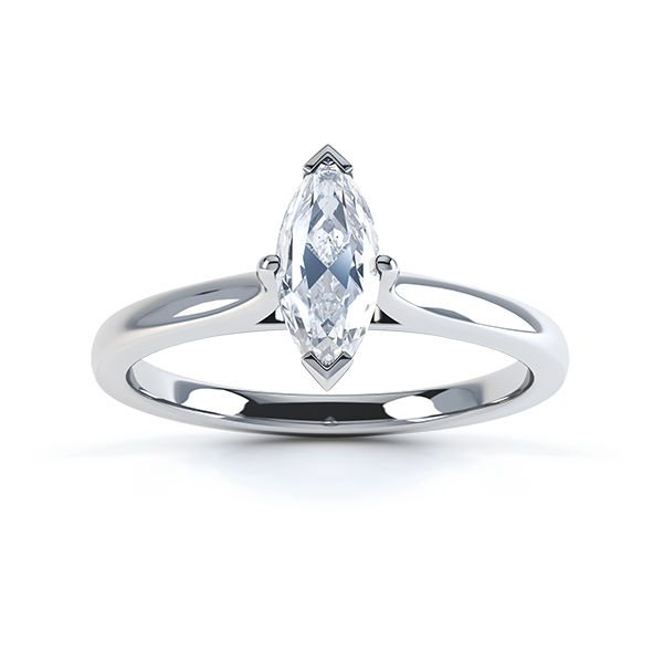 0.20cts Palladium Marquise Diamond Solitaire Ring Top View