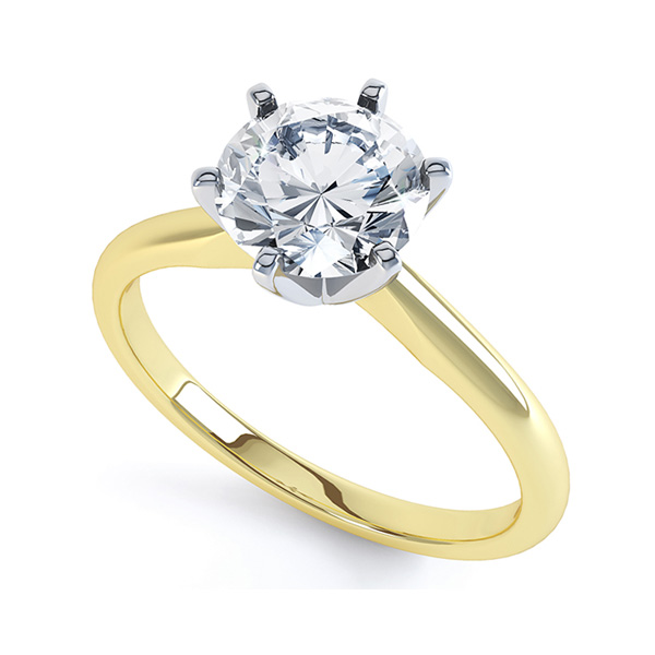 Six Claw Diamond Solitaire Engagement Ring - Perpective