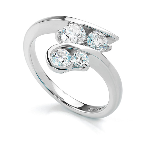 0.86cts G SI1 4 Stone Cross-Over Diamond Ring