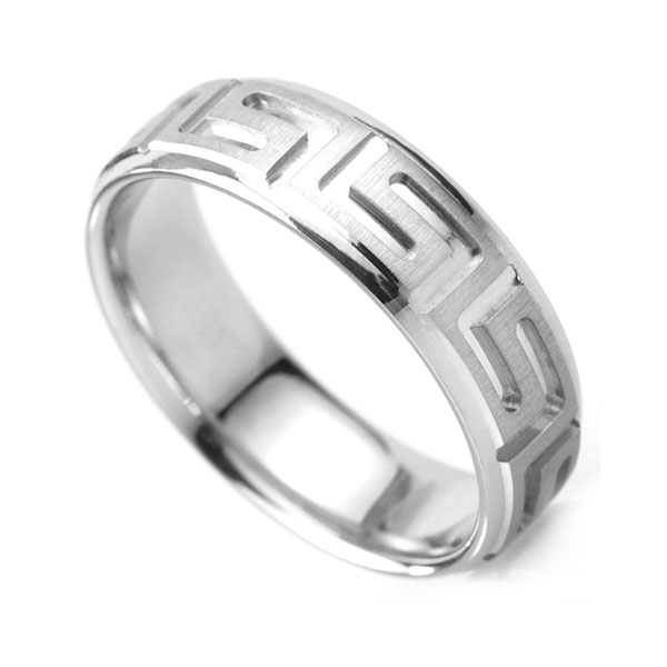 Men's Greek Patterned wedding ring