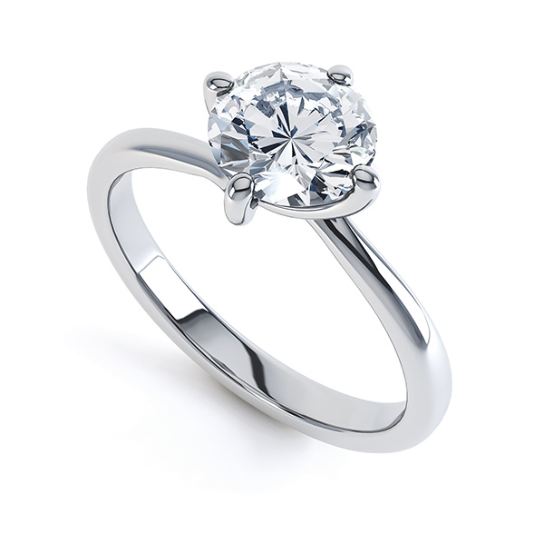 0.30cts 4 Claw Twist Platinum Diamond Ring