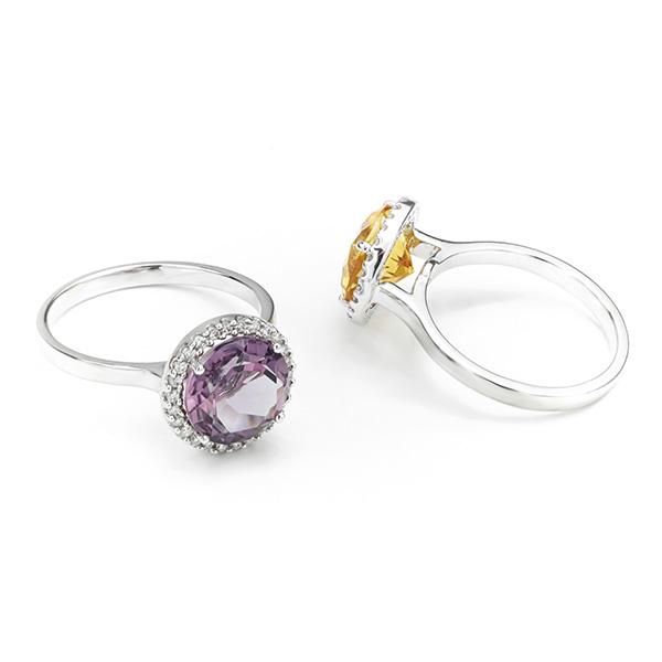 3 Carat Citrine & Diamond Halo Ring Side View