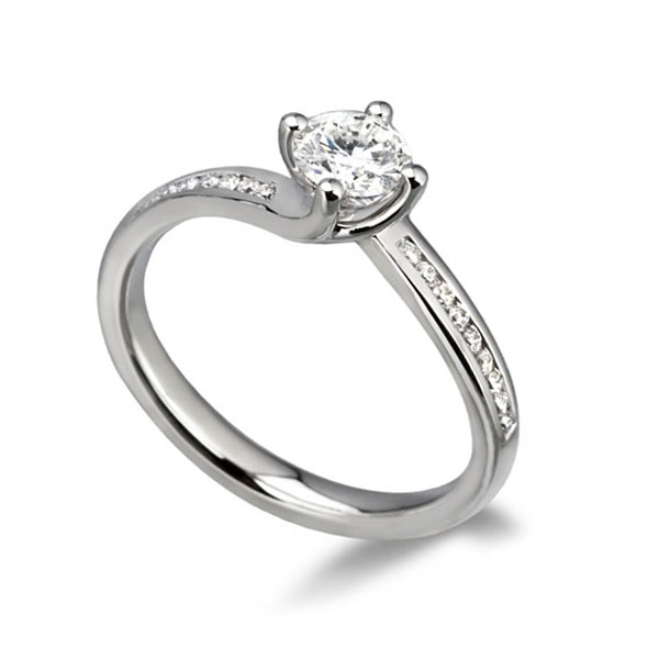 0.55cts Part-Bezel Engagement Ring in 950 Platinum