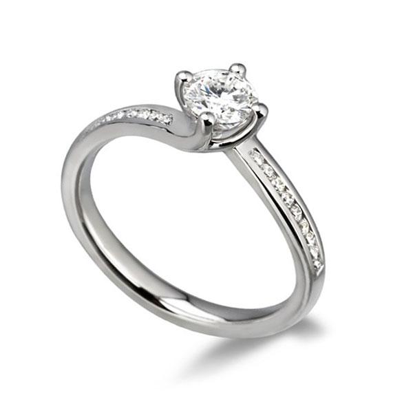 0.55cts Part-Bezel Engagement Ring in 950 Platinum